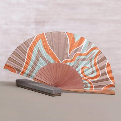 Silk batik fan, 'Flame of Bali' - Handcrafted Patterned Batik Silk and Pinewood Fan from Bali