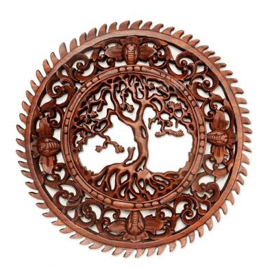 Wood wall relief panel, 'Tree of Serenity' - Hand Carved Tree Motif Wall Relief Panel from Bali