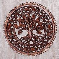 Wood relief panel, 'Tranquility Tree' - Hand Carved Tree Motif Wood Wall Relief Panel from Bali