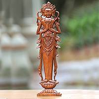 Wood relief panel, 'Lakshmi Goddess' - Hand Carved Hindu Goddess Wood Wall Relief Panel from Bali