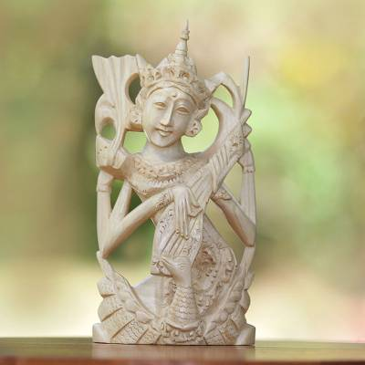 Wood statuette, 'Divine Knowledge' - Hand Carved Balinese Crocodile Wood Hindu Goddess Statuette