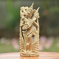 Wood statuette, 'Saraswati Song' - Hand Carved Saraswati Crocodile Wood Statuette Indonesia