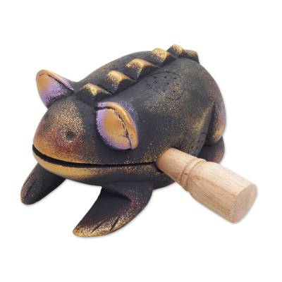Wood percussion instrument, 'Musical Toad' - Hand Carved Wood Toad Percussion Instrument from Bali