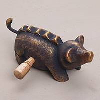 Wood percussion instrument, 'Musical Pig' - Hand Carved Wood Pig Percussion Instrument from Bali