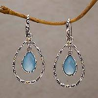 Gold accented chalcedony dangle earring, 'Eternity Dew' - Handmade Chalcedony and Sterling Silver Dangle Earrings