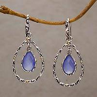 Gold accented chalcedony dangle earrings, 'Eternity Dew in Blue' - Chalcedony and Sterling Silver Gold Accented Dangle Earrings