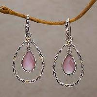 Gold accented chalcedony dangle earrings, 'Eternity Dew in Pink' - Chalcedony and Sterling Silver Gold Accented Dangle Earrings