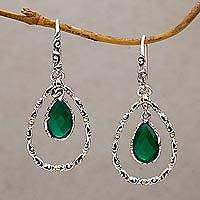 Gold accented chalcedony dangle earrings, 'Eternity Dew in Green' - Chalcedony and Sterling Silver Gold Accented Dangle Earrings
