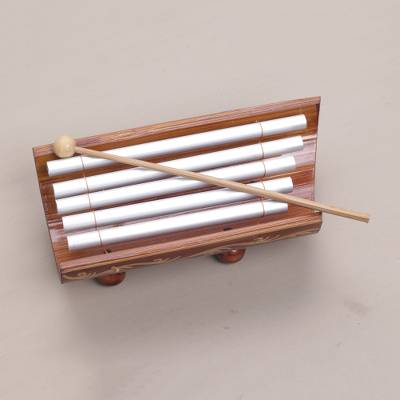 Bamboo and aluminum xylophone, 'Twinkling Glory' - Hand Crafted Bamboo and Aluminum Xylophone from Bali