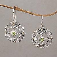 Gold accented peridot dangle earrings, 'Exquisite Flora' - Peridot Sterling Silver Dangle Earrings with 18k Gold Accent