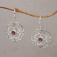 Gold accented garnet dangle earrings, 'Exquisite Flora' - Garnet Sterling Silver Dangle Earrings with 18k Gold Accent