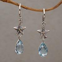 Blue topaz dangle earrings, 'Starfish Drop' - Handmade Blue Topaz Sterling Silver Starfish Dangle Earrings
