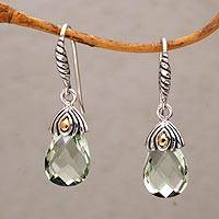 Gold accented prasiolite dangle earrings, 'Floral Drop' - Prasiolite and Gold Accented Sterling Silver Dangle Earrings
