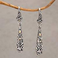 Gold accented sterling silver dangle earrings, 'Jepun Tears' - Gold Accented Floral Sterling Silver Dangle Earrings