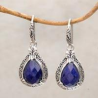 Sapphire dangle earrings, 'Floral Queen' - Sapphire and Sterling Silver Dangle Earrings from Bali