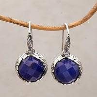 Sapphire dangle earrings, 'Palatial Promise' - Sapphire and Sterling Silver Dangle Earrings from Bali