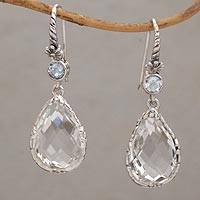 Blue and white topaz dangle earrings, 'Crystal Lake' - Blue and White Topaz Dangle Earrings with Gold Accent