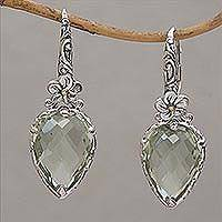 Gold accented prasiolite dangle earrings, 'Touch of Jepun' - Prasiolite Sterling Silver Dangle Earrings Handmade in Bali