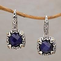 Gold accented sapphire dangle earrings, 'Majestic Eden' - Gold Accented Sapphire and Sterling Silver Dangle Earrings
