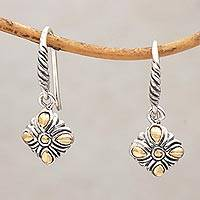 Gold accented sterling silver dangle earrings, 'Denpasar Promise' - Balinese Gold Accented Sterling Silver Dangle Earrings