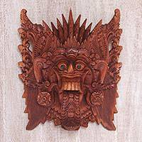 Wood mask, 'Demon Queen' - Hand Carved Suar Wood Wall Mask from Bali