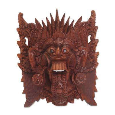 Hand Carved Suar Wood Wall Mask from Bali