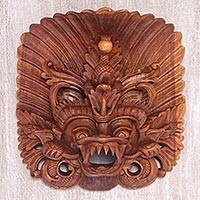 Wood mask, 'Great Barong' - Hand Carved Suar Wood Wall Mask from Indonesia