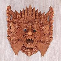 Wood mask, 'Great Protector' - Hand Carved Suar Wood Wall Mask from Bali