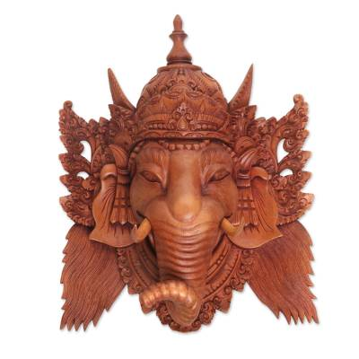 Hand Carved Suar Wood Ganesha Wall Mask from Bali
