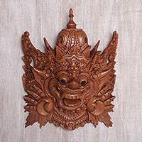 Wood wall mask, 'Bhoma Guardian' - Hand Carved Suar Wood Bhoma Wall Mask from Indonesia