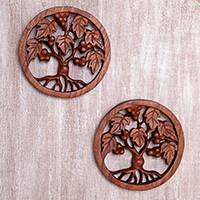 Wood relief panels, 'Berry Trees' (pair) - Tree-Themed Suar Wood Relief Panels (Pair) from Bali