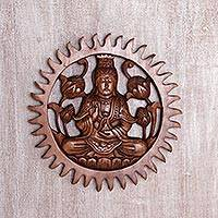 Wood wall relief panel, 'Meditating Kwan Im' - Hand Carved Suar Wood Kwan Im Wall Panel