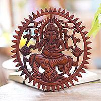 Wood wall relief panel, 'Ganesha in the Garden' - Hand Carved Suar Wood Ganesha Wall Relief Panel