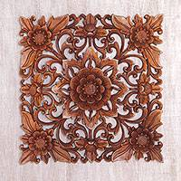 Featured review for Wood wall relief panel, Floral Adornment