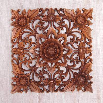 Wood wall relief panel, 'Floral Adornment' - Hand Carved Suar Wood Floral Wall Relief Panel