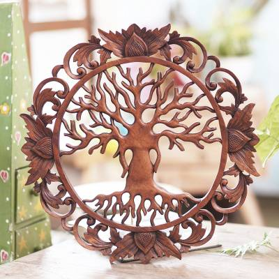 Wood wall relief panel, 'Tree Roots' - Hand Carved Suar Wood Tree Relief Panel from Bali