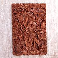 Wood relief panel, 'Ramayana Lovers' - Hand Carved Suar Wood Wall Relief Panel from Indonesia