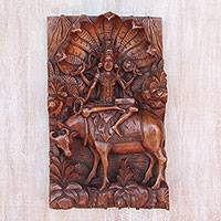 Wood wall relief panel, 'Goddess Sri' - Hand Carved Suar Wood Wall Relief Panel from Indonesia
