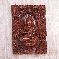 Wood relief panel, 'Eternal Peace' - Hand Carved Suar Wood Buddha Wall Relief Panel