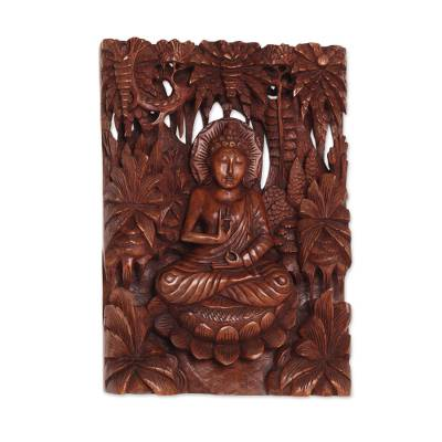 Hand Carved Suar Wood Buddha Wall Relief Panel
