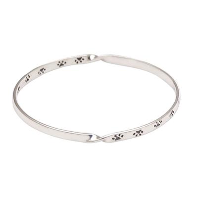 Paw Print Motif Sterling Silver Bangle Bracelet from Bali