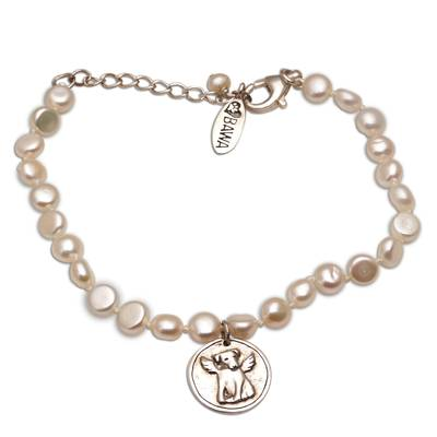 Puppy-Themed Cultured Pearl Beaded Bracelet from Bali