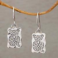 Sterling silver dangle earrings, 'Cat Swirls' - Cat Motif Sterling Silver Dangle Earrings from Bali