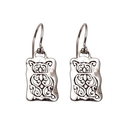 Cat Motif Sterling Silver Dangle Earrings from Bali
