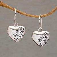 Sterling silver dangle earrings, 'Loving Trails' - Heart-Shaped Sterling Silver Paw Print Earrings from Bali