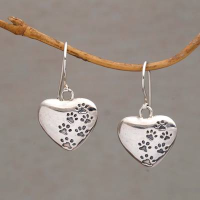 Sterling Silver Dangle Earrings Loving Trails Heart Shaped Paw
