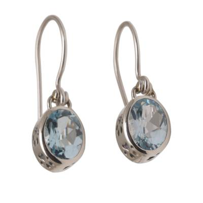 Blue Topaz and Sterling Silver Paw Print Dangle Earrings