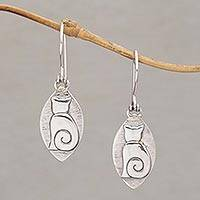 Sterling silver dangle earrings, 'Kitten Pose' - Cat Motif Sterling Silver Dangle Earrings from Bali