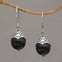 Onyx dangle earrings, 'Paw Fruit' - Onyx and Sterling Silver Dangle Earrings with Paw Motif