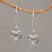 Sterling silver dangle earrings, 'Paw Hearts' - Paw Print Heart-Shaped Sterling Silver Earrings from Bali